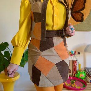 Vintage 70s style patchwork leather skirt + vest